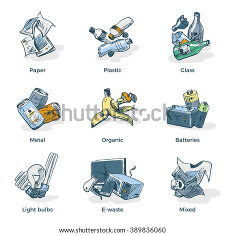 Hand drawn vector illustration sketch of trash categories with organic, paper, plastic, glass, metal, e-waste, batteries, light bulbs and mixed waste. Waste types recycling management concept.  - stock vector