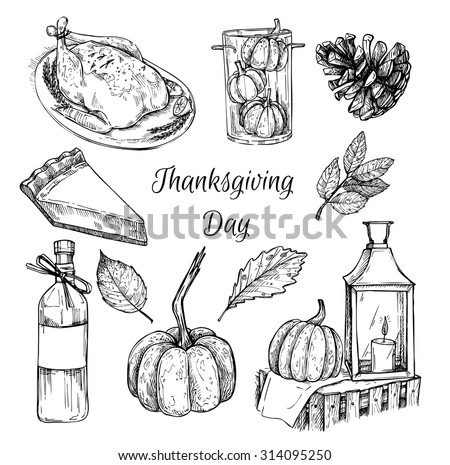 Hand drawn vector illustration - Thanksgiving day. Design elements for invitations, greeting cards, quotes, blogs, posters and more. - stock vector