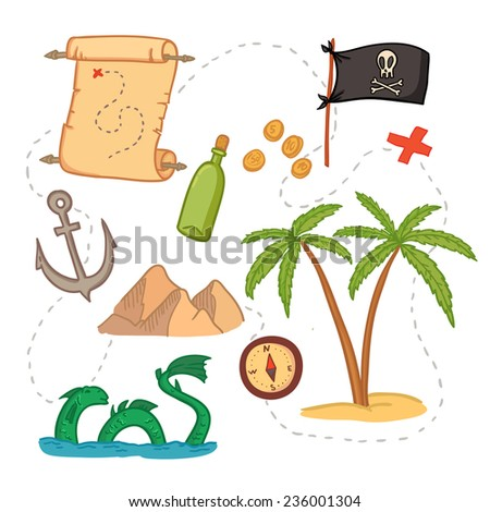 Hand drawn vector illustration - treasure map and design elements (mountains,   palm,compass, anchor etc.)