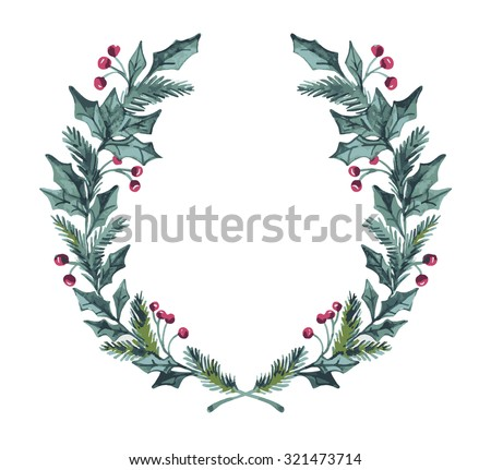 Hand drawn vector illustration - watercolor wreath. Christmas Wreath. Perfect for invitations, greeting cards, quotes, blogs, Wedding frames, posters and more. - stock vector