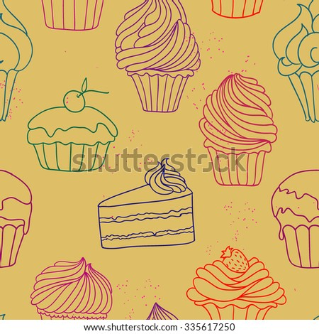 Hand drawn vector illustration with cupcakes on it