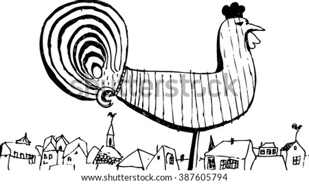 Hand drawn vector illustration with old roofs and rooster weather vane. Riga. Latvia. Black and white sketch. White background. - stock vector