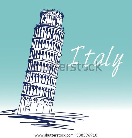 Hand Drawn Vector Illustration. World Famous Landmark Series:Italy,Pisa,leaning Tower of Pisa.   - stock vector
