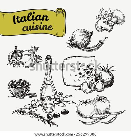Hand-drawn vector illustrations. Set of national Italian food - stock vector