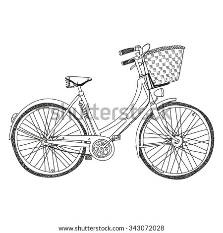 hand drawn vector lady's city bike with basket - stock vector