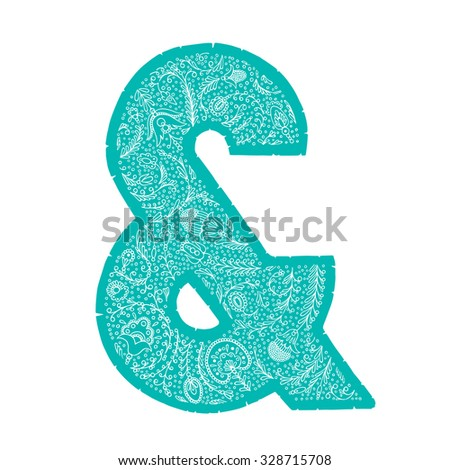 Hand drawn vector letter with floral pattern based on Russian ornaments. Perfect to decorate your posters, easy recolor,  - stock vector
