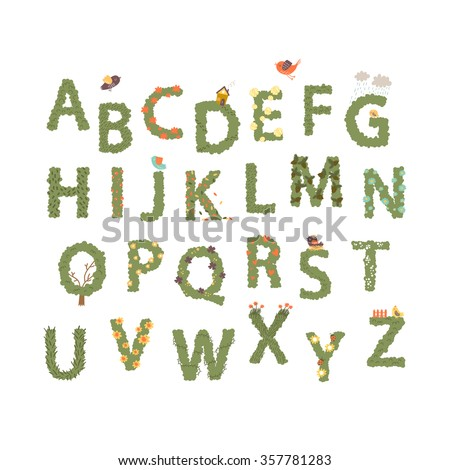 Hand drawn Vector Letters With Flowers and birds. Vector Alphabet.