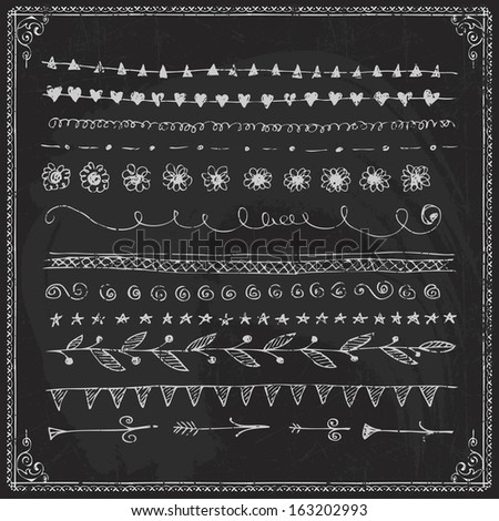 Exceptional Hand Drawn Vector Line Border Set And Design Element On A Chalkboard
