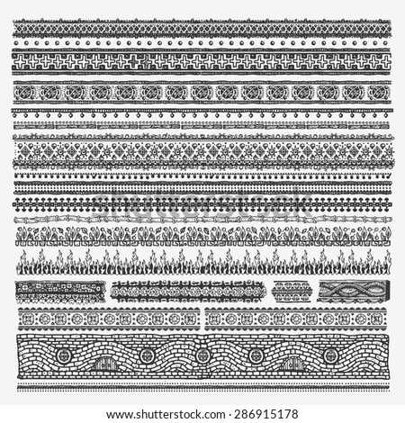 Hand drawn vector line border set and design elements - stock vector