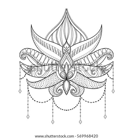 Hand Drawn Vector Lotus Flower Illustration Ornamental Ethnic Paisley Tattoo Art Boho And