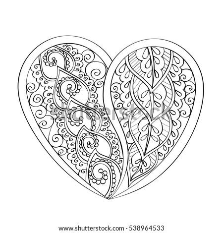 Handdrawn Vector Mandala Heart Book Page Stock Photo Photo Vector
