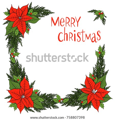 Christmas decoration mistletoe holly berries poinsettia for Poinsettia christmas tree frame