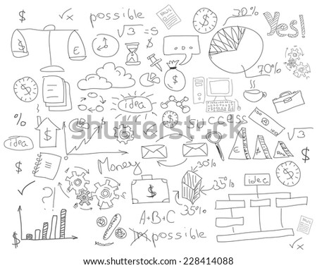 Hand drawn vector of business strategy, brainstorming and website development doodles elements. - stock vector