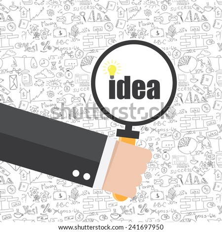 Hand drawn vector of business strategy, brainstorming and website development doodles elements - stock vector
