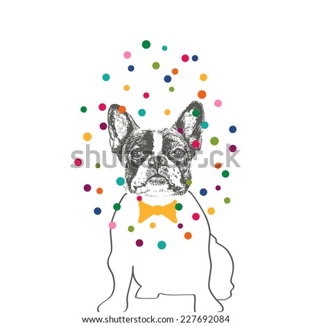 Hand drawn vector of French Bulldog in tie bow with colorful dots - stock vector