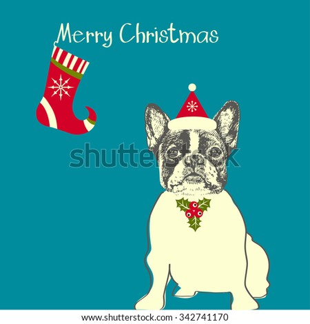 Hand drawn vector of French Bulldog. Merry Christmas card - stock vector