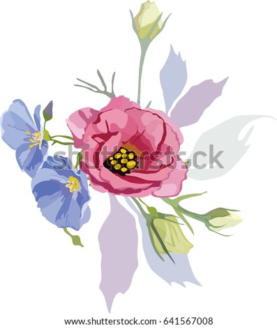 Hand Drawn Vector Of Purple And Blue Flowers On The Transparent Background