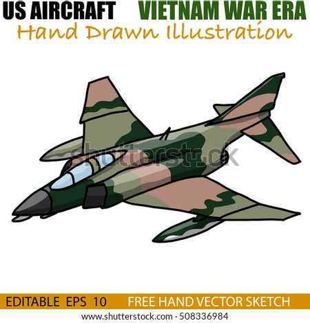Hand drawn vector of Vintage US Military aircraft from Vietnam War era