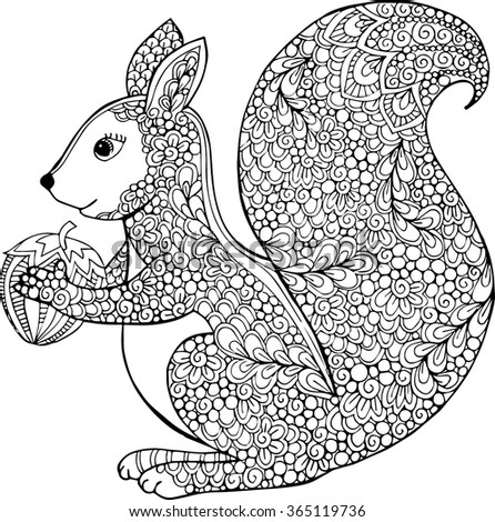 Hand Drawn Vector Outline Squirrel Illustration Decorative Monochrome Drawing