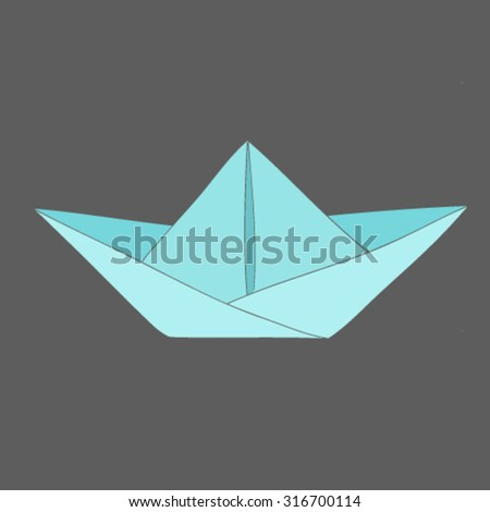 Hand drawn vector paper boat