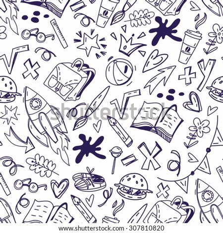 "Hand drawn vector pattern ""Back to school""."