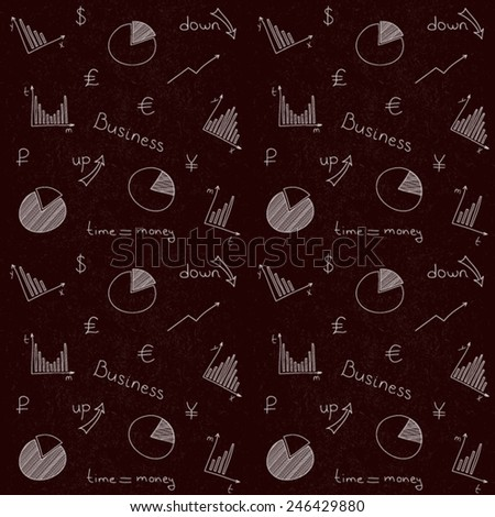 Hand drawn vector pattern with business planning doodles elements. White lines on blackboard.  - stock vector