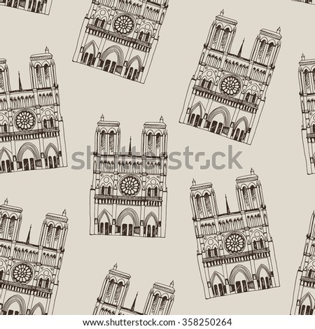 Hand drawn vector pattern with Notre Dame de Paris Cathedral, France. Seamless background with french travel landmark