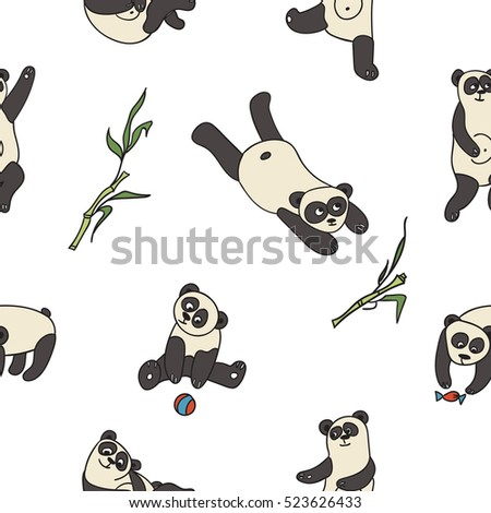 Hand drawn vector pattern with pandas  for wallpaper, card, textile, comic, poster