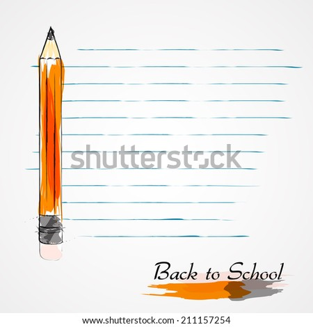 Hand drawn vector pencil and piece of paper from notebook in lines on light background. - stock vector