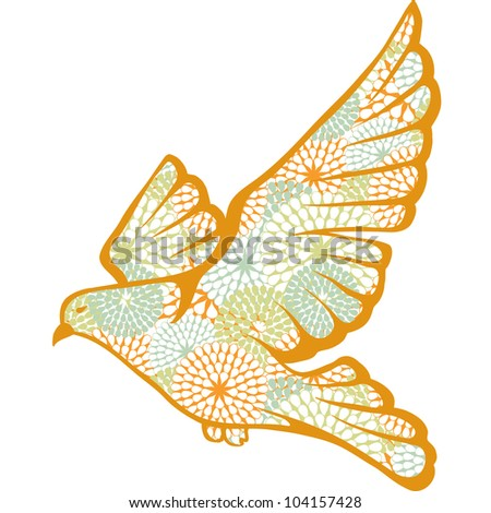 Hand drawn vector pigeon made of flower pattern. - stock vector
