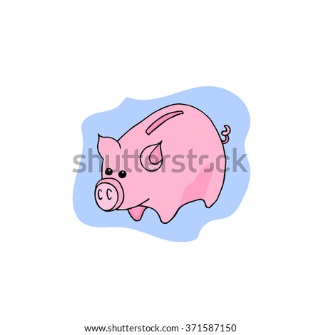 Hand drawn vector piggy bank illustration