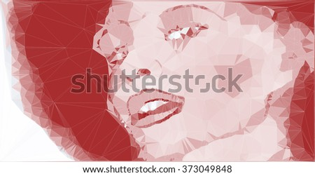 hand drawn vector polygonal portrait of a woman with afro style hair - stock vector