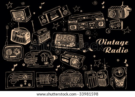 Hand drawn vector radios - stock vector