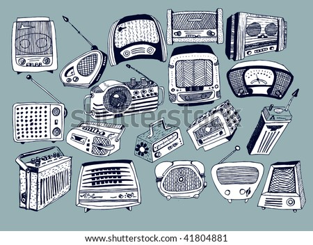 hand drawn vector radios 2 - stock vector