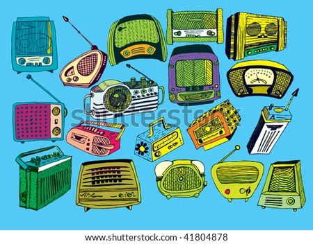 hand drawn vector radios 2 (colorful) - stock vector