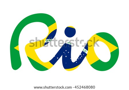 Hand drawn vector Rio letters banner with brazilian flag backdrop isolated on white background. Brazil Sport summer 2016 Games event in Rio de Janeiro. flat design illustration clip art graphic design - stock vector