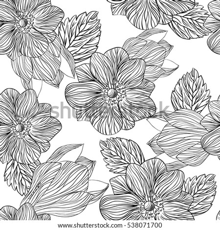 hand drawn vector seamless floral pattern with flowers