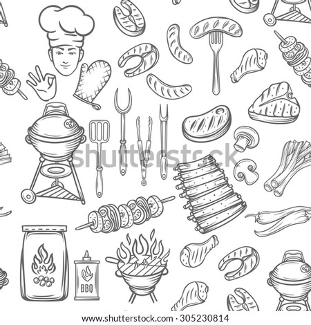 Hand drawn  vector seamless pattern barbecue, black line. - stock vector