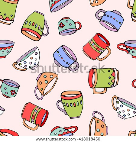 hand drawn vector seamless pattern, cute colored mugs and cups background