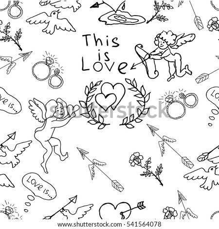 stock vector hand drawn vector seamless pattern cute wedding theme angels hearts arrows flowers diamond 541564078 pigeon rings stock images, royalty free images & vectors on dovecote designs templates