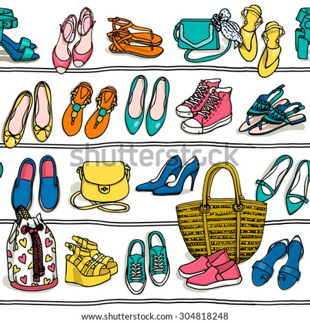 Hand drawn vector seamless pattern of shoes bags and female fashion accessories on white background. Side view of shoes, bags, glasses on shelf   - stock vector