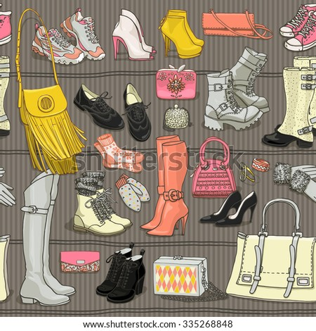 Hand drawn vector seamless pattern of shoes bags and female fashion accessories. Side view collection on shelf. Can use for print, web, fabric, wallpaper.  - stock vector