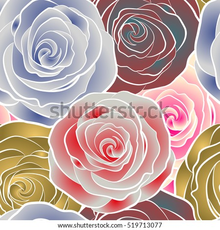 Hand drawn vector seamless pattern. Vintage watercolor roses.