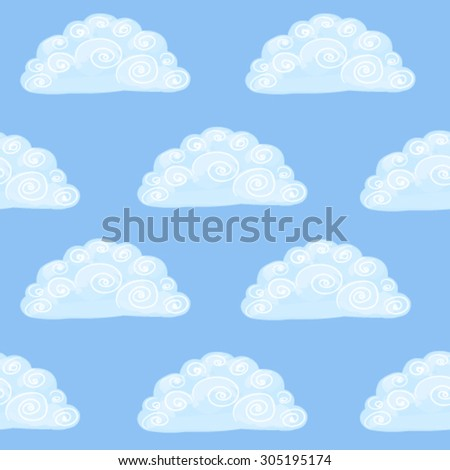 Hand-drawn vector seamless pattern with clouds in the sky - stock vector