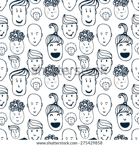 Hand drawn vector seamless pattern with illustration of group of men and women. Crowd of funny peoples background  - stock vector