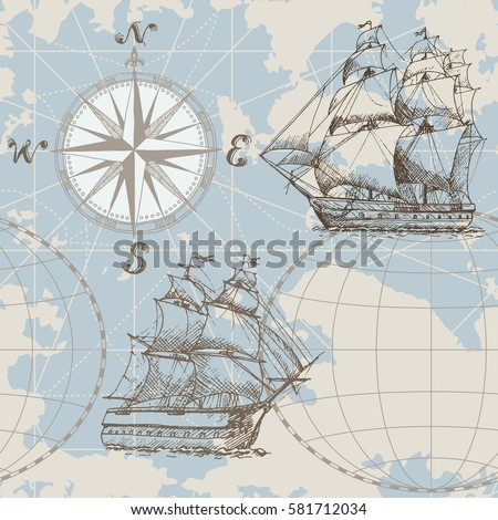 Hand drawn vector seamless sea map with compass and sailing ship. Perfect for textiles, wallpaper and prints.