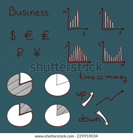Hand drawn vector set of business planning doodles elements. - stock vector