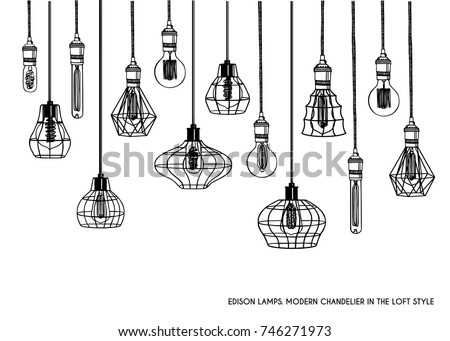 Lampshade stock images royalty free images vectors shutterstock hand drawn vector set of different geometric loft lamps and iron lampshade industrial style aloadofball Choice Image