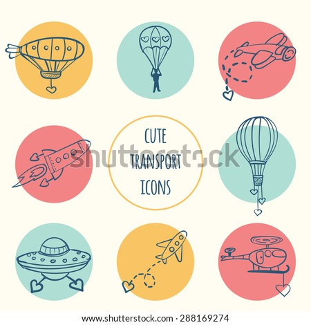 Hand drawn vector set of icons with airplane, balloon, rocket, helicopter, parachutist, dirigible, ufo and cartoon hearts. Wallpaper for children's room, greeting card, wrapping paper, background. - stock vector