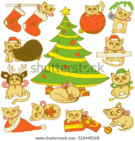 Hand-drawn vector set of new year cats, next to the Christmas tree, looking out of a sock and  a hat, playing with Christmas toys, , dressed Santa Claus, reindeer and elf. All isolated. - stock vector